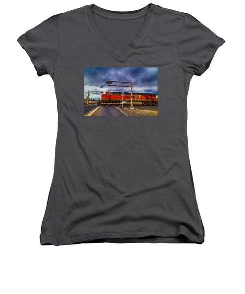 Bnsf 7682 Crossing Women's V-Neck T-Shirt (Junior Cut) by Bartz Johnson