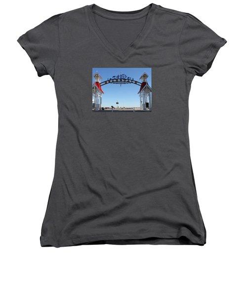 Boardwalk Arch At N Division St Women's V-Neck T-Shirt (Junior Cut) by Robert Banach