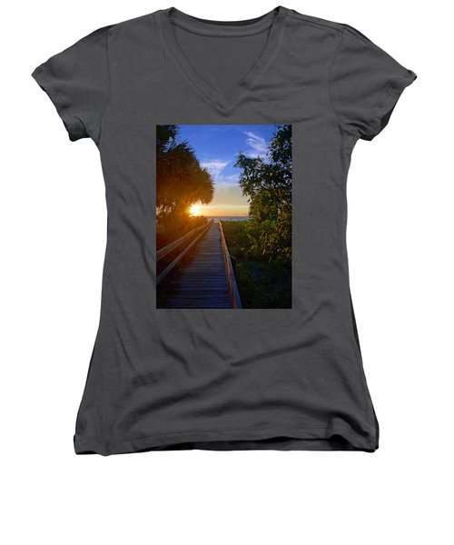 Women's V-Neck T-Shirt (Junior Cut) featuring the photograph Sunset At The End Of The Boardwalk by Robb Stan