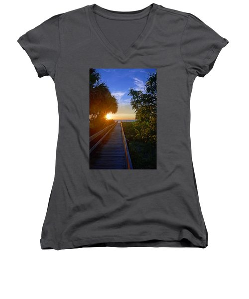 Sunset At The End Of The Boardwalk Women's V-Neck
