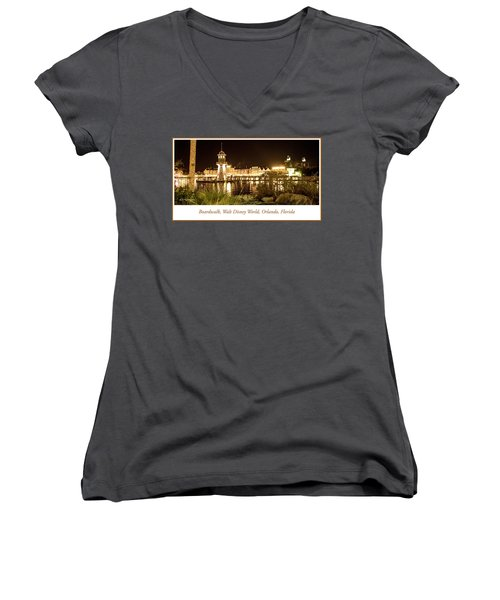Boardwalk At Night, Walt Disney World Women's V-Neck T-Shirt