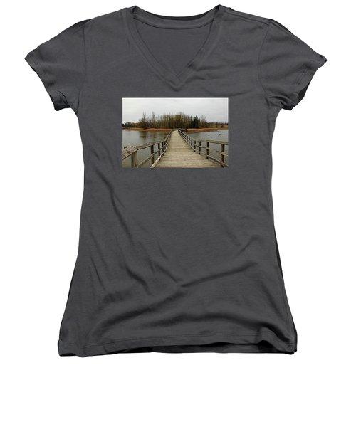 Boardwalk Women's V-Neck T-Shirt (Junior Cut) by Debbie Oppermann