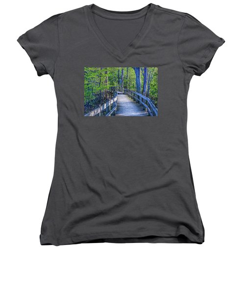 Boardwalk Going Into The Woods Women's V-Neck