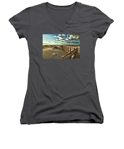 Boardwalk On The Beach Women's V-Neck
