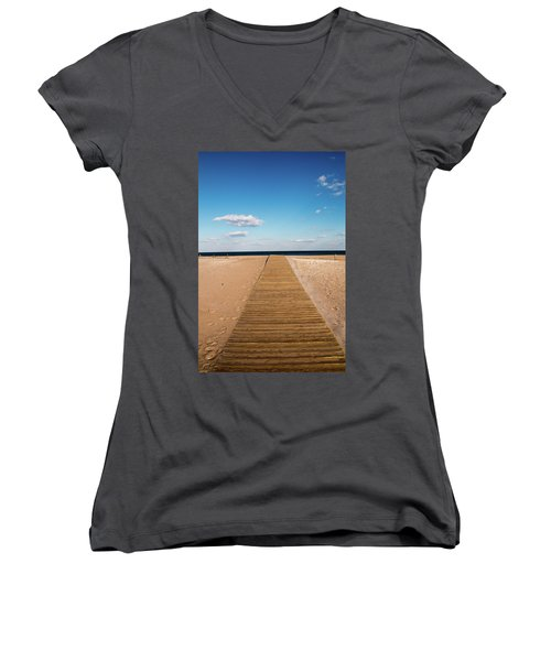 Boardwalk To The Ocean Women's V-Neck (Athletic Fit)