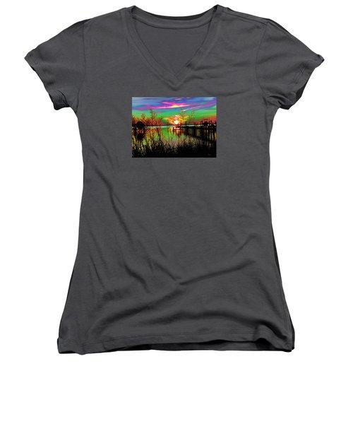 Boat Dock 3 Women's V-Neck T-Shirt