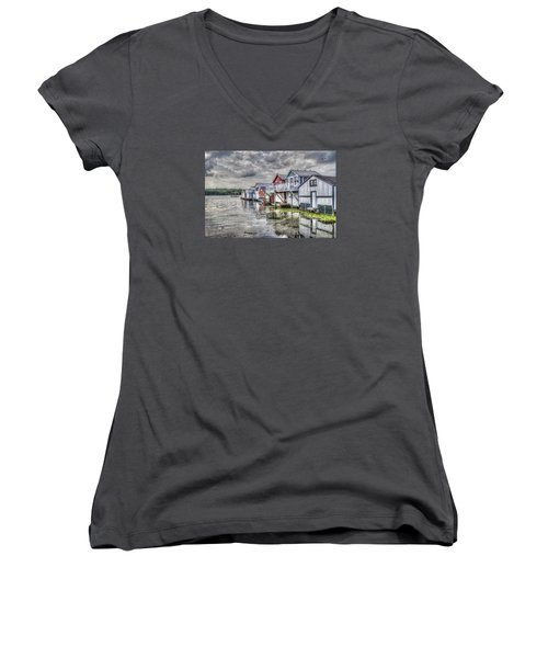 Boat Houses In The Finger Lakes Women's V-Neck T-Shirt