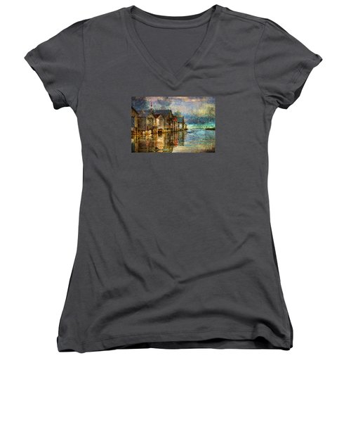 Boat Houses Women's V-Neck T-Shirt (Junior Cut) by Jim  Hatch