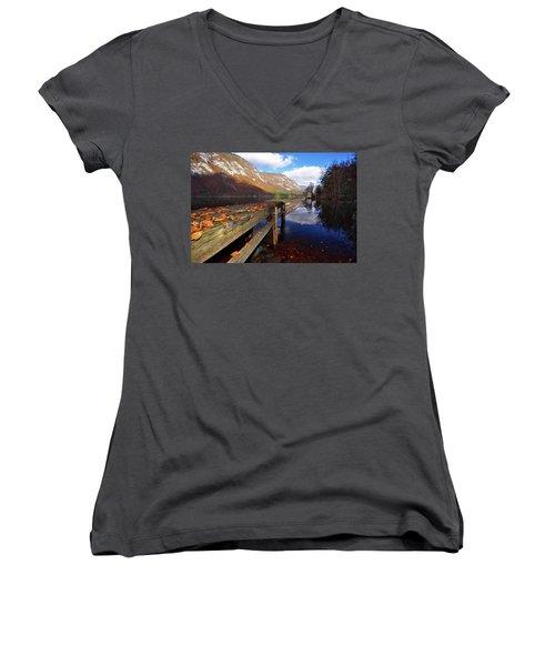 Boat Mooring At Lake Bohijn Women's V-Neck T-Shirt (Junior Cut) by Graham Hawcroft pixsellpix