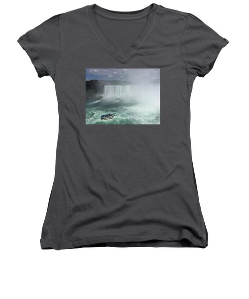 Boat Near Niagara Falls Women's V-Neck (Athletic Fit)