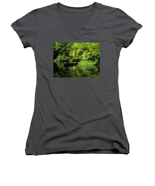 Boat Reflected On Water County Clare Ireland Painting Women's V-Neck