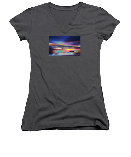 Boat Sunset Women's V-Neck (Athletic Fit)