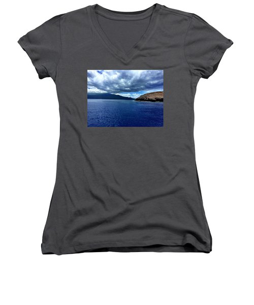 Women's V-Neck T-Shirt (Junior Cut) featuring the photograph Boat View 3 by Michael Albright