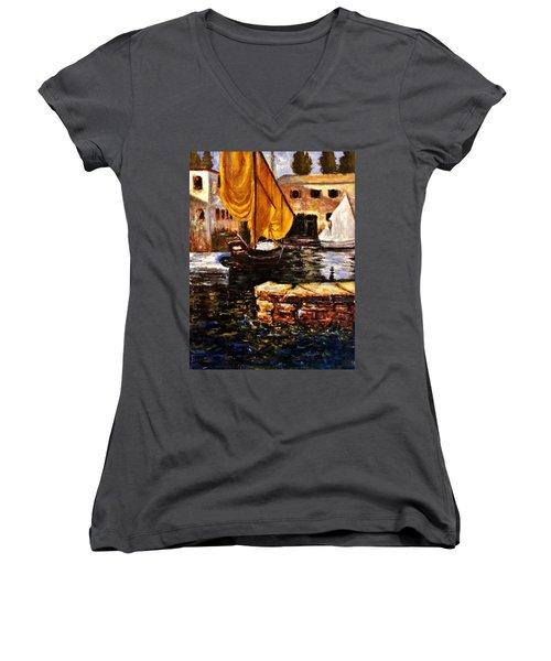 Boat With Golden Sail,san Vigilio  Women's V-Neck T-Shirt