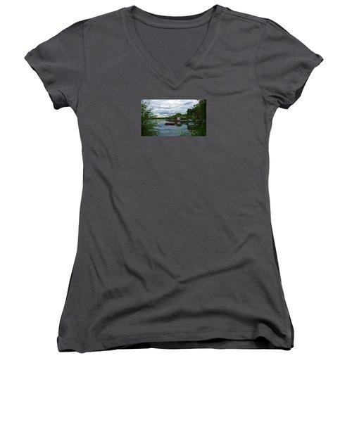Boathouse Women's V-Neck T-Shirt (Junior Cut) by Anne Kotan