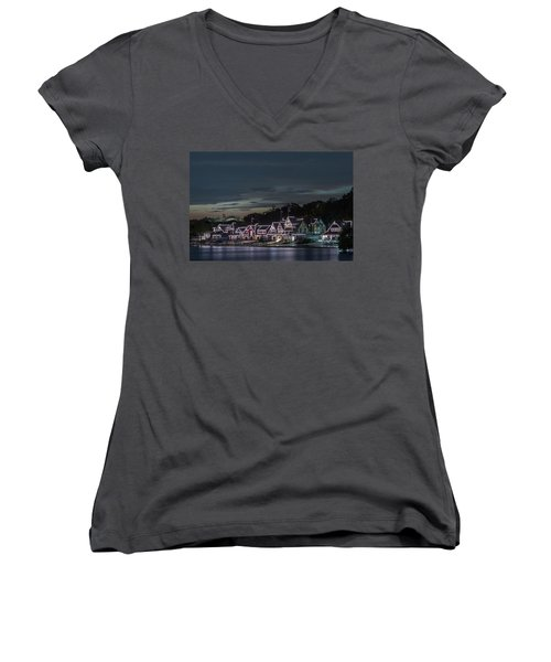 Boathouse Row Philly Pa Night Women's V-Neck T-Shirt (Junior Cut) by Terry DeLuco