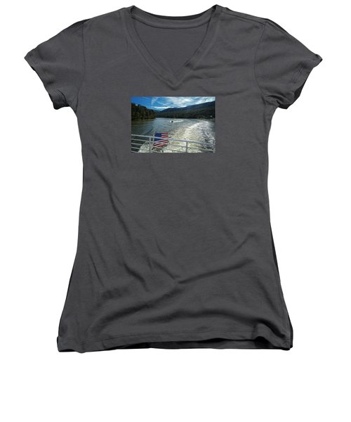 Boating On The River Women's V-Neck T-Shirt (Junior Cut)