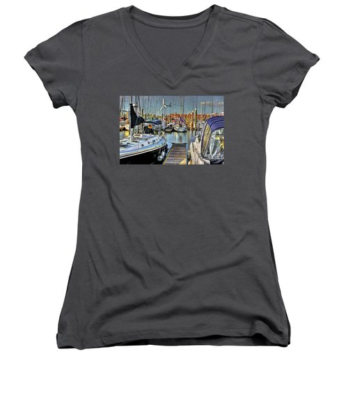 Boats At Kemah Women's V-Neck (Athletic Fit)