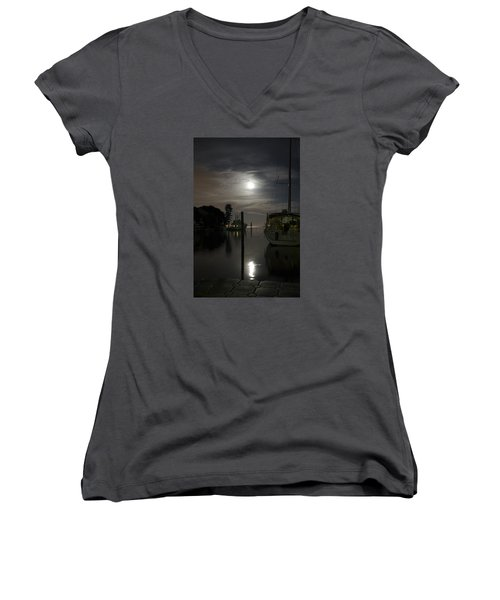 Boats At Moon Rise Women's V-Neck