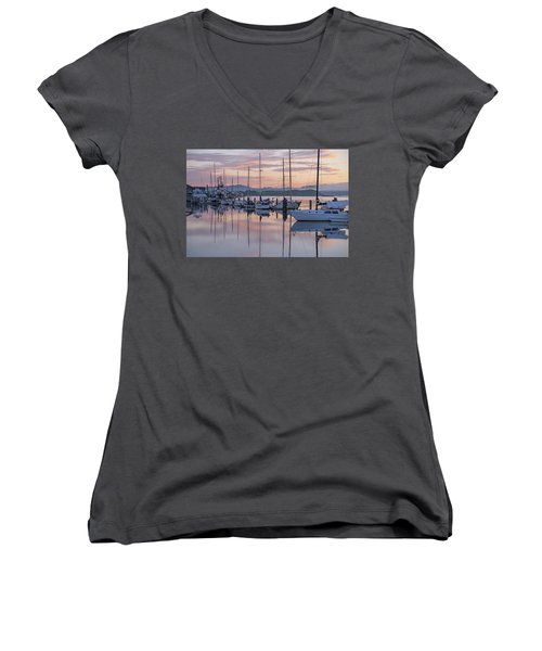 Boats In Pastel Women's V-Neck T-Shirt