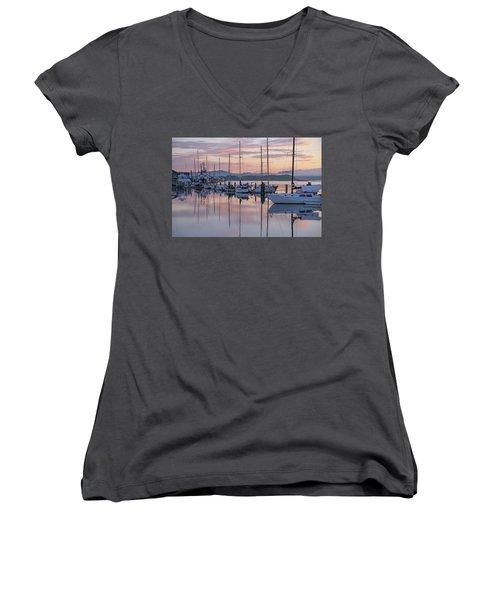 Boats In Pastel Women's V-Neck T-Shirt