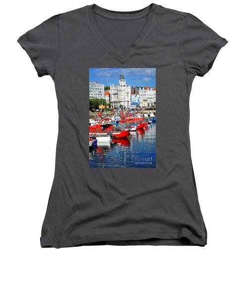 Boats In The Harbor - La Coruna Women's V-Neck T-Shirt (Junior Cut) by Mary Machare