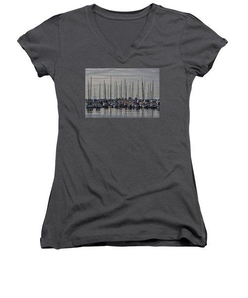 Women's V-Neck T-Shirt featuring the photograph Boats In The Izola Marina - Slovenia by Stuart Litoff