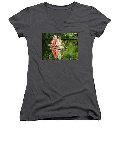 Boats Landscape Women's V-Neck T-Shirt (Junior Cut)