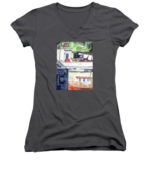 Boats On The Quay Women's V-Neck (Athletic Fit)