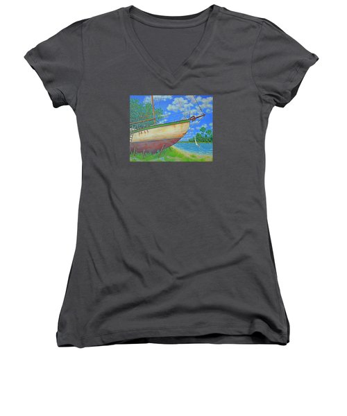 Boatyard On Shem Creek Women's V-Neck T-Shirt