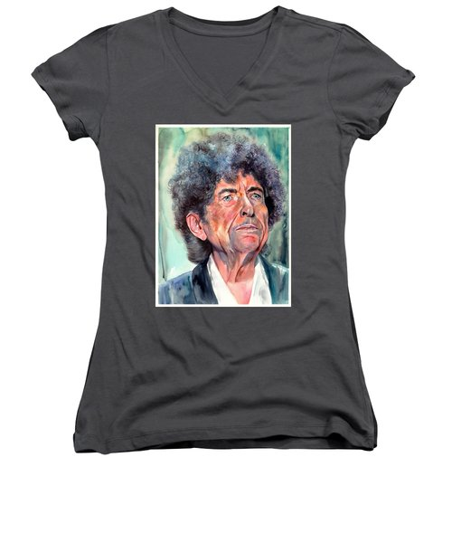 Bob Dylan Watercolor Portrait  Women's V-Neck (Athletic Fit)