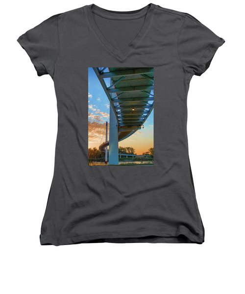 Bob Kerry Bridge At Sunrise-2 Women's V-Neck
