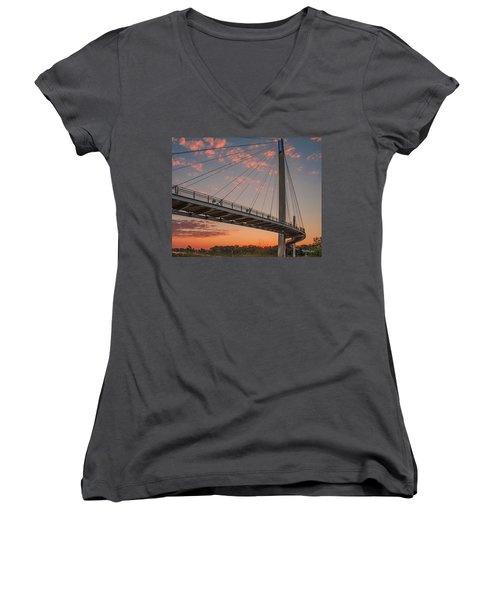 Bob Kerry Bridge At Sunrise-4 Women's V-Neck (Athletic Fit)