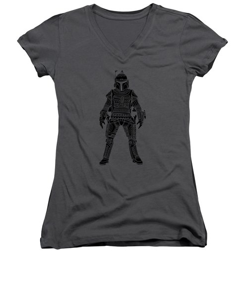 Boba Fett - Star Wars Art, Green Women's V-Neck (Athletic Fit)