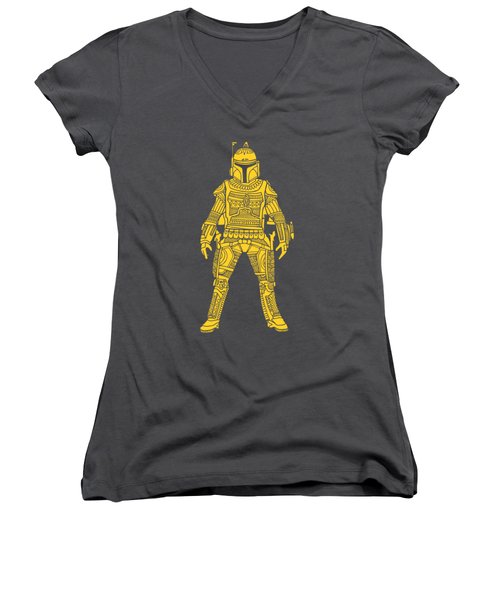 Boba Fett - Star Wars Art, Yellow Women's V-Neck (Athletic Fit)
