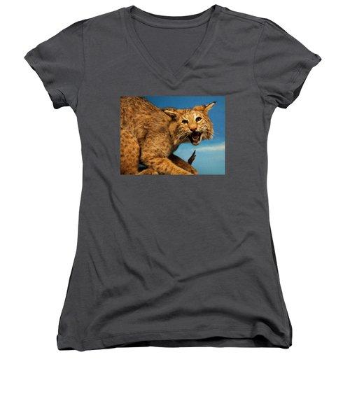 Women's V-Neck T-Shirt (Junior Cut) featuring the digital art Bobcat On A Branch by Chris Flees