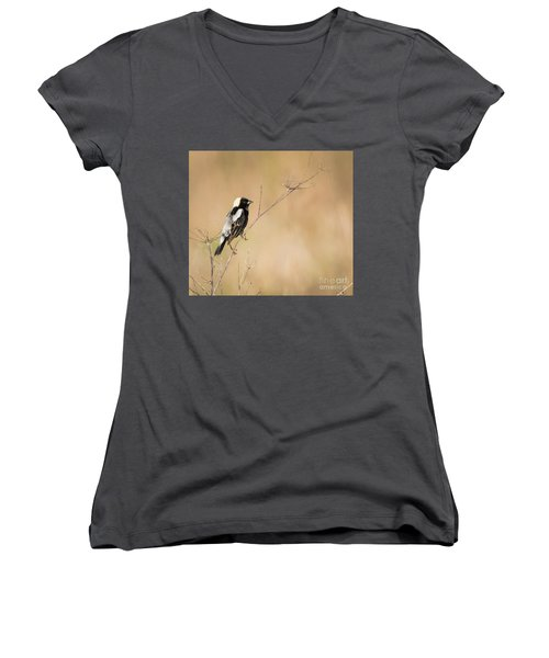 Women's V-Neck T-Shirt featuring the photograph Bobolink  by Ricky L Jones