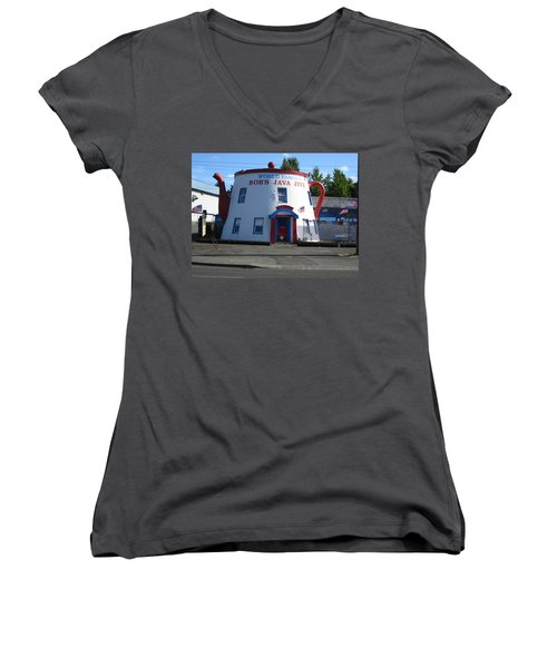 Bob's Java Jive Coffee Pot Women's V-Neck T-Shirt (Junior Cut) by Kym Backland