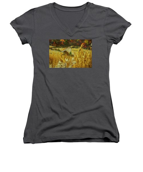 Women's V-Neck T-Shirt (Junior Cut) featuring the digital art Bobwhite In Flight by Chris Flees
