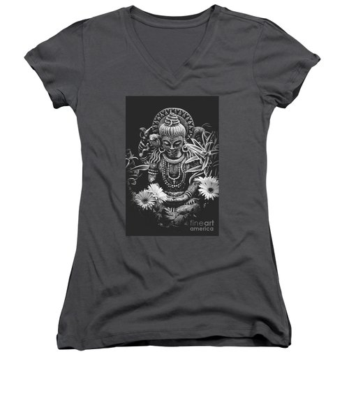 Women's V-Neck T-Shirt (Junior Cut) featuring the photograph Bodhisattva Parametric by Sharon Mau