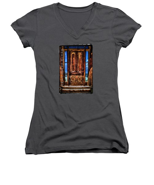 Bodie Ghost Town Front Door Detail Women's V-Neck T-Shirt