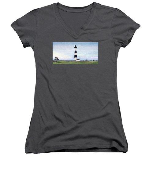 Bodie Island Lighthouse Mural Art Women's V-Neck T-Shirt (Junior Cut) by Marion Johnson