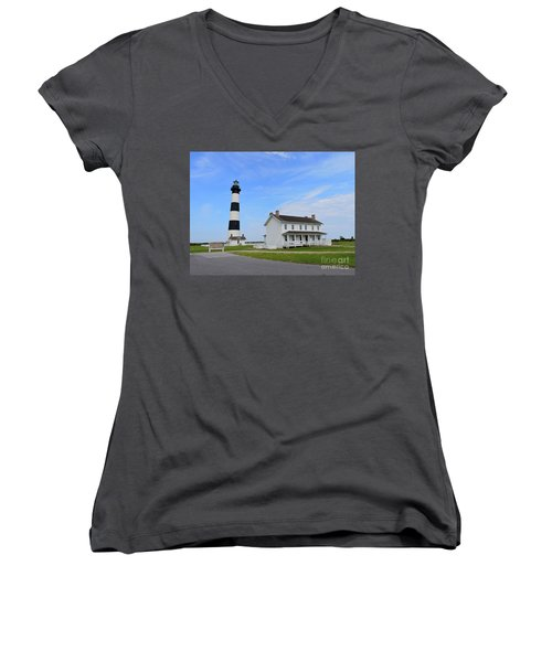 Bodie Island Lighthouse Women's V-Neck T-Shirt (Junior Cut) by Shelia Kempf
