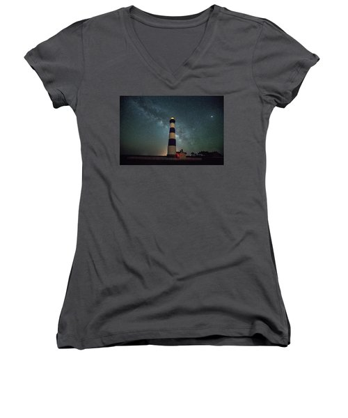 Bodie Lighthouse And Milky Way Women's V-Neck (Athletic Fit)