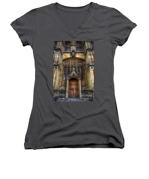 Bodleian Library Door - Oxford Women's V-Neck (Athletic Fit)