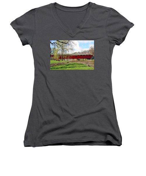 Bogert Covered Bridge Women's V-Neck T-Shirt (Junior Cut) by DJ Florek