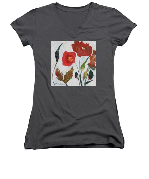 Women's V-Neck T-Shirt featuring the painting Bold Blooms by Robin Maria Pedrero