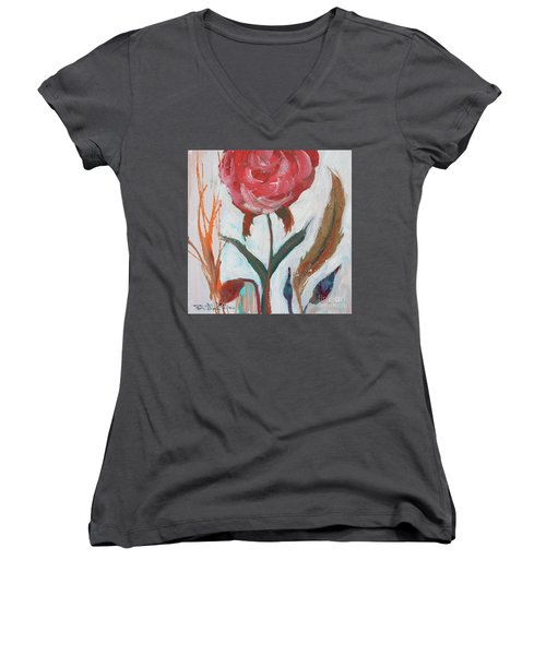 Women's V-Neck T-Shirt featuring the painting Bold Bright Beautiful Bloom by Robin Maria Pedrero
