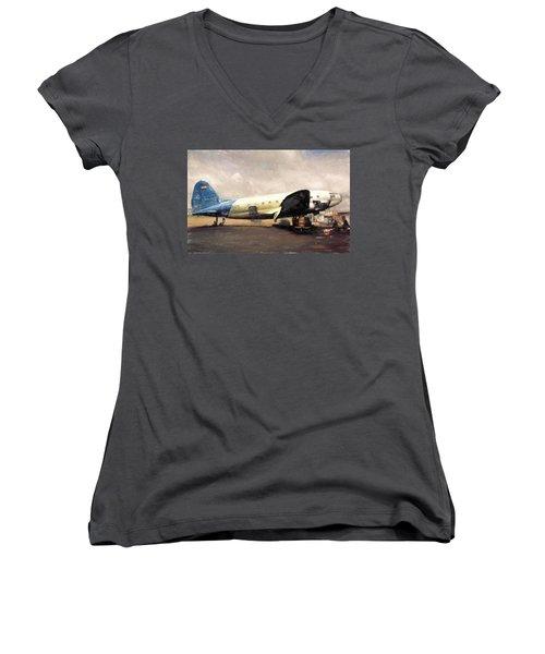 Women's V-Neck T-Shirt (Junior Cut) featuring the digital art Bolivian Air by Michael Cleere