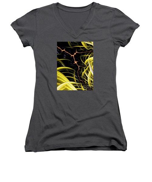 Women's V-Neck featuring the digital art Bolt Through by Vix Edwards